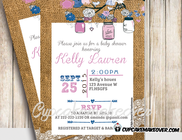 diy printable pink mason jar baby shower invitation burlap lace