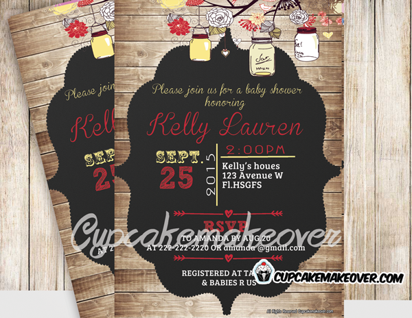 yellow country rustic mason jars baby shower invitation shabby chic wood