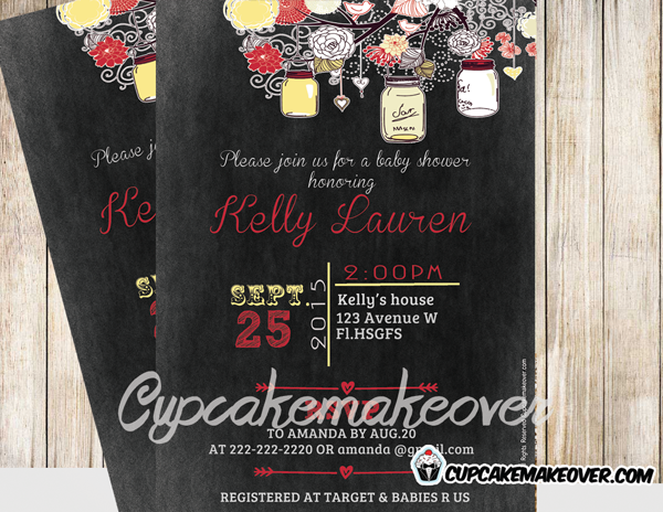 yellow custom diy mason jars baby shower blackboard invitation