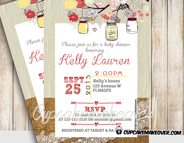 printable yellow burlap lace mason jars baby shower invitations