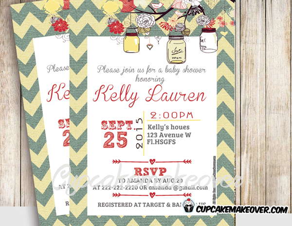 printable yellow floral birch mason jars baby shower invitation