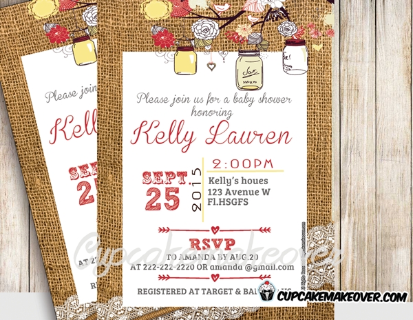 diy printable yellow mason jar baby shower invitation burlap lace