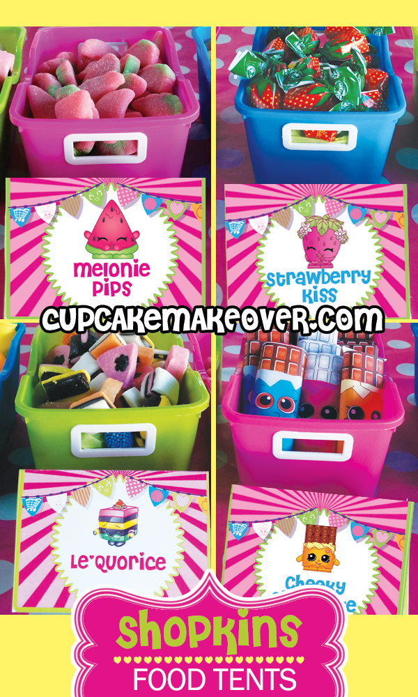 Shopkins Food Tents Place Cards DIY Party Decoration