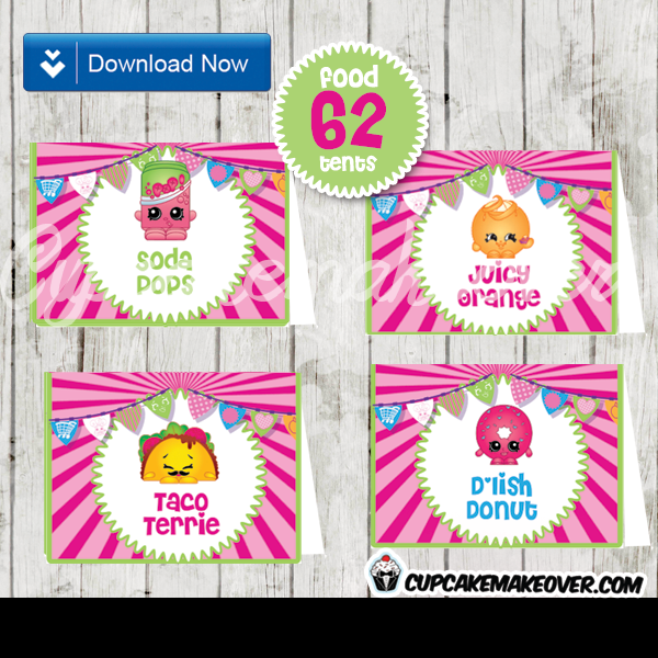 Printable Shopkins Party Food Tent Cards