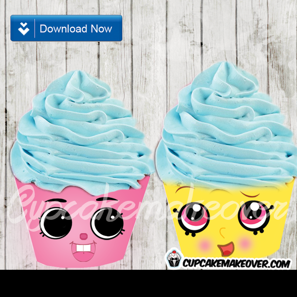 cute printable shopkins cupcake wrappers yellow pink