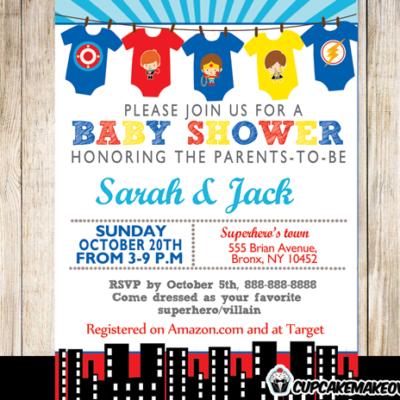 printable superhero onesies baby shower invitation