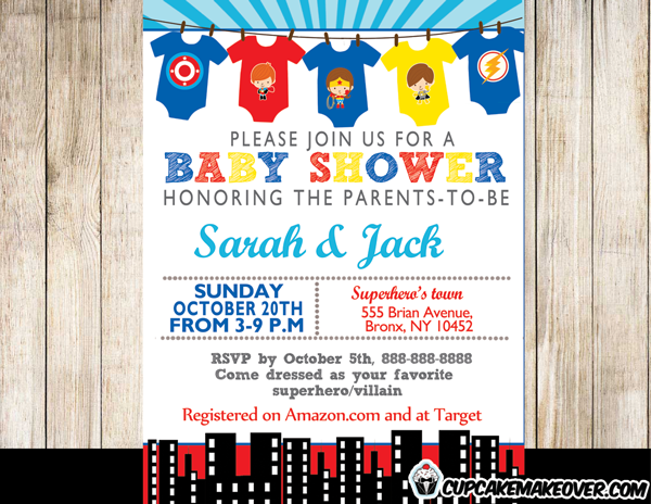 printable superhero onesies baby shower invitation