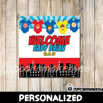 printable custom superhero onesies gift label tags baby shower