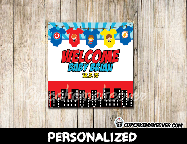 printable custom superhero onesies gift label tags baby shower