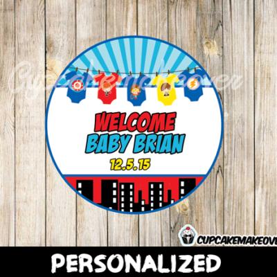 printable custom superhero onesies favor tags baby shower