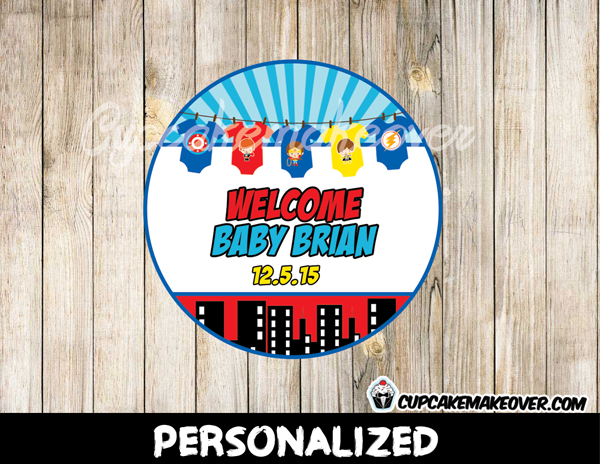 printable custom superhero onesies favor tags baby shower