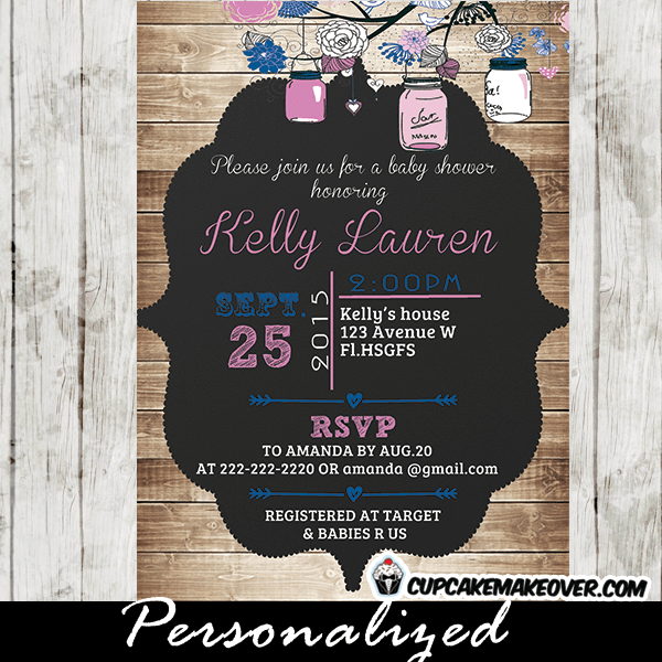 Pink blue country rustic mason jar baby shower invitations pink mason jar baby shower invitations rustic shabby chic country wood filmwisefo