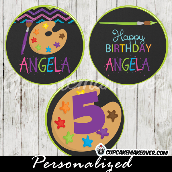 personalized art palette favor tags cake toppers