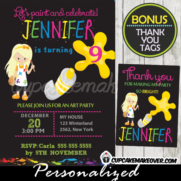 girl printable painting art themed party invitations chalkboard