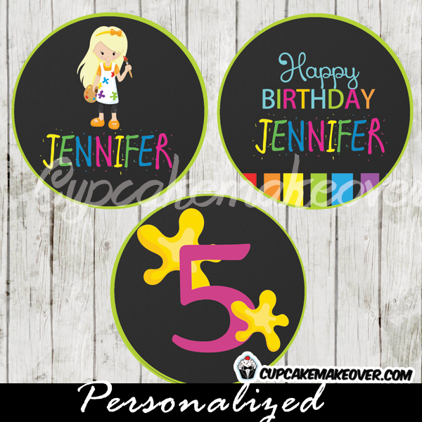personalized paint party favor tags cake toppers