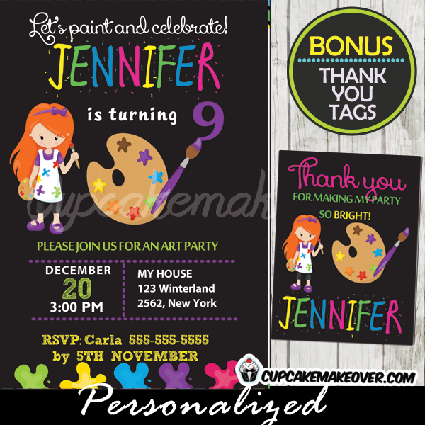 printable little artist girl painting party invitation