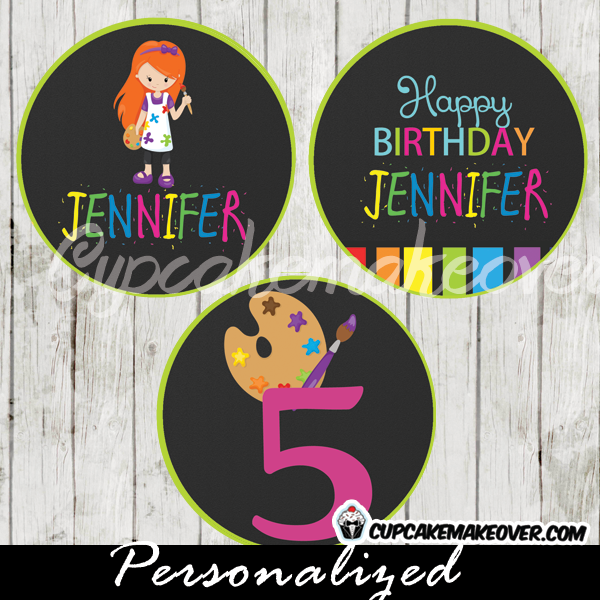 personalized painting party favor tags cupcake toppers