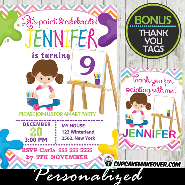 Coloring Crayons Art Party Invitation, Personalized