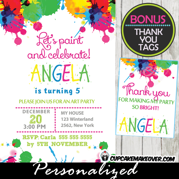 printable Splatter Paint Birthday Party Invitations personalized