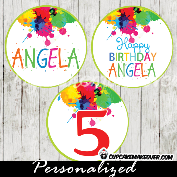 personalized paint splatter favor tags cupcake toppers party decoration