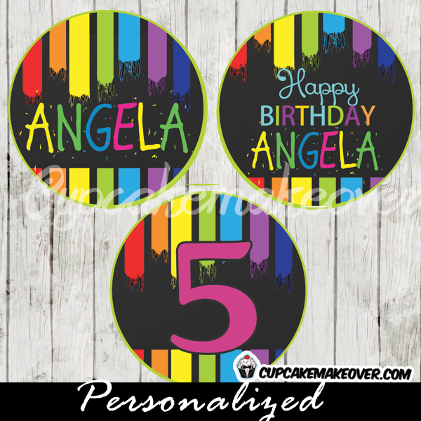 personalized paint themed favor tags cupcake toppers with colorful brush strokes