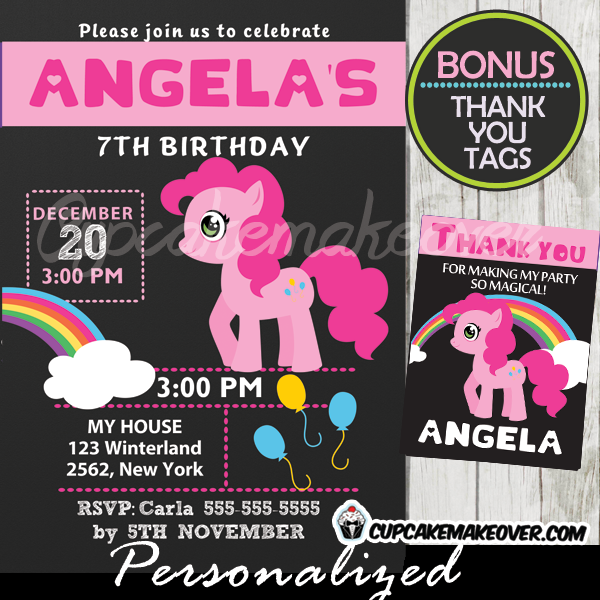 pinkie pie my little pony party invitation printable