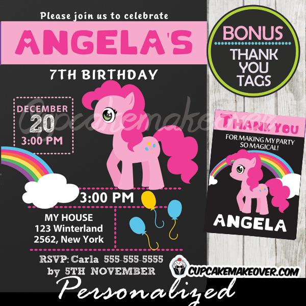 pinkie pie my little pony party invitation printable