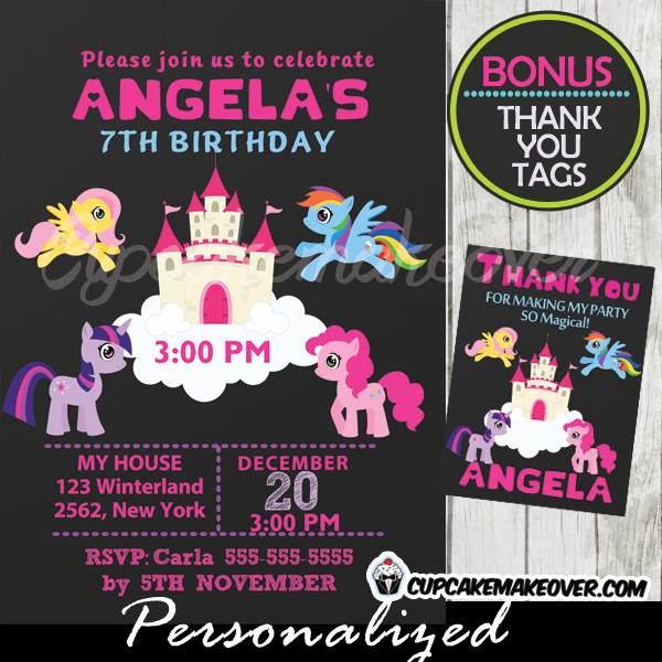 Little Pony Castle Birthday Invitation Chalkboard Personalized D6 – My Little Pony Personalized Birthday Invitations