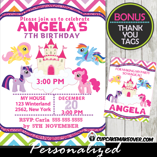 Pink Little Pony Birthday Invitation Chalkboard Personalized D7 – My Little Pony Personalized Birthday Invitations