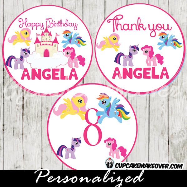 pinkie pie applejack twighlight sparkle my little pony castle cupcake toppers printable gift tags
