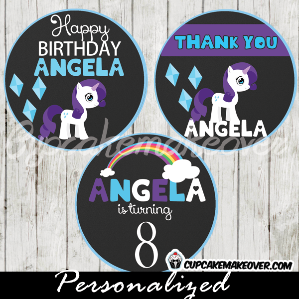 rarity my little pony favor tags printable cake toppers