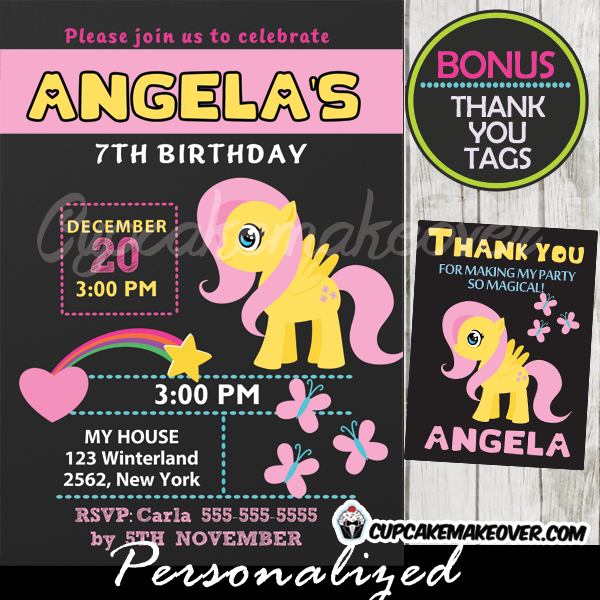 fluttershy little pony birthday party invitations printable