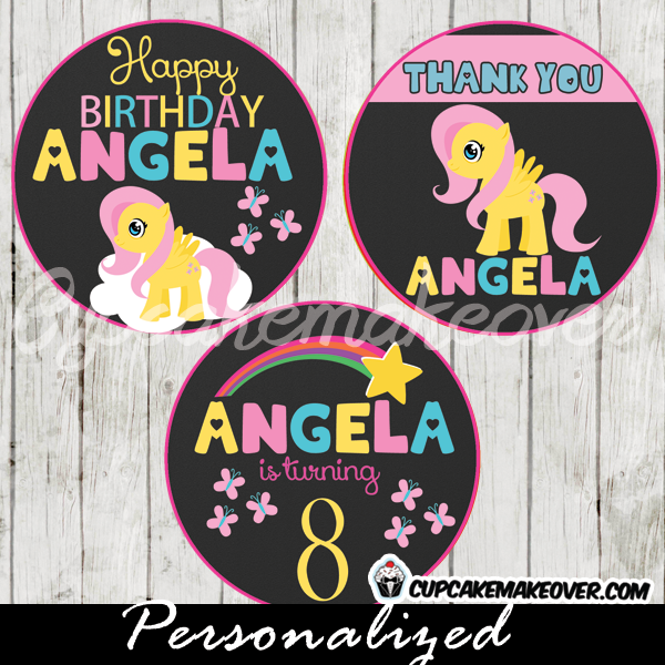 fluttershy little pony favor tags printable toppers