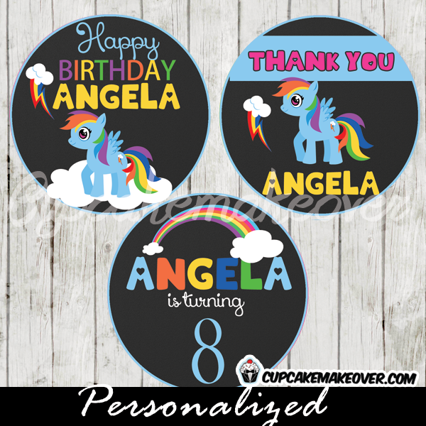rainbow dash my little pony favor tags printable cupcake toppers