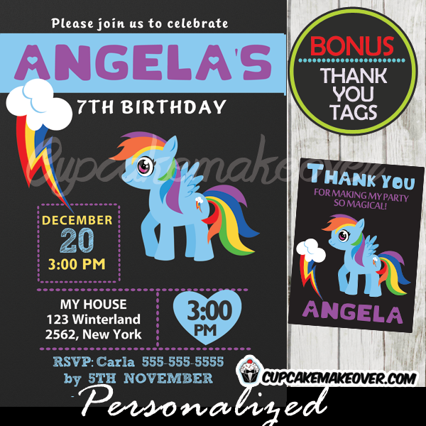 rainbow dash my little pony party invitations printable