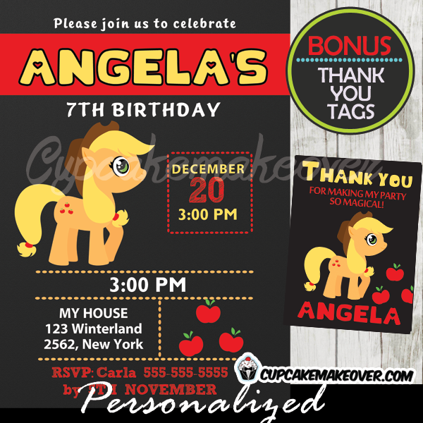 applejack little pony party invitations printable