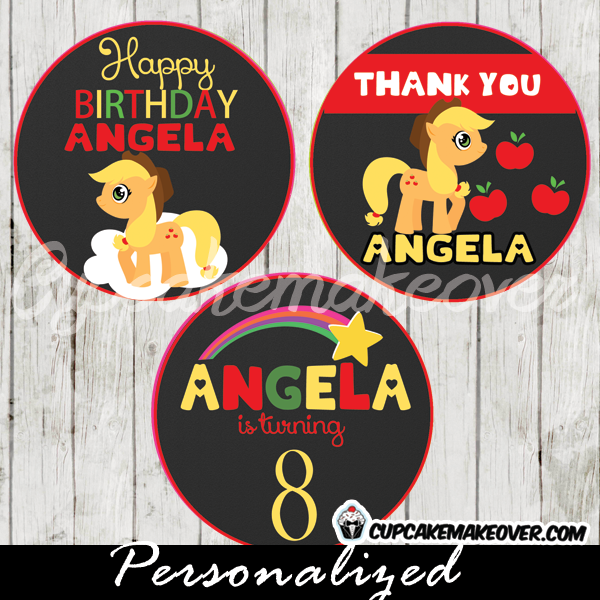 applejack little pony favor tags printable cake toppers