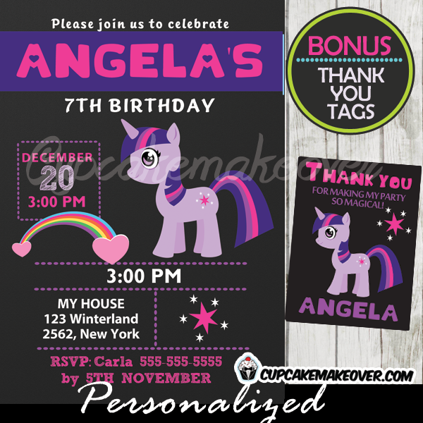 twilight sparkle little pony birthday invite printable