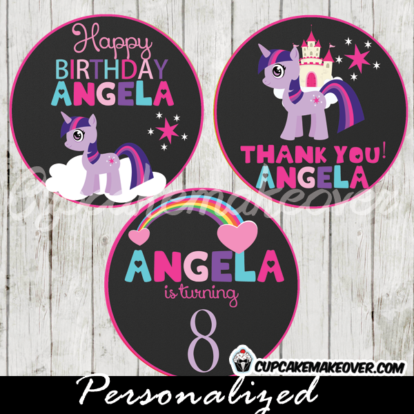 twilight sparkle little pony cake toppers printable gift tags