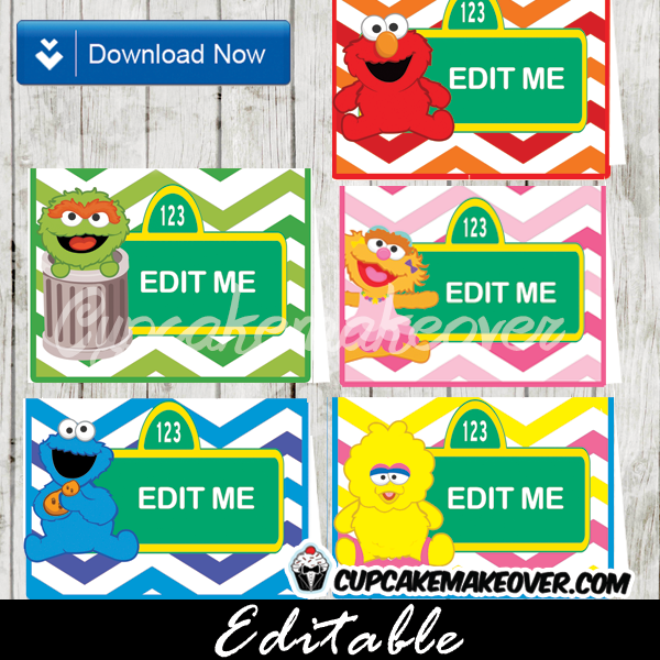 Wondrous Sesame Street Editable Food Labels Instant Download Home Remodeling Inspirations Genioncuboardxyz