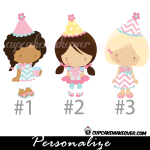 pink birthday girls for personalized invitation card