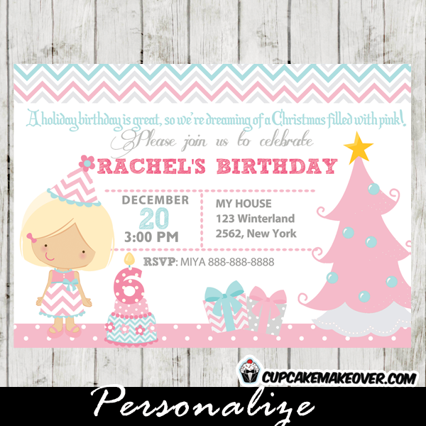 winter wonderland pink birthday invitation for girls