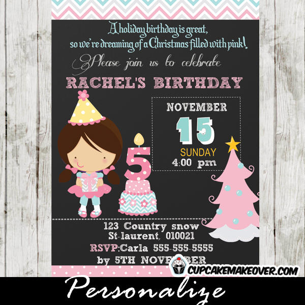 chalkboard pink christmas birthday invitation for girls