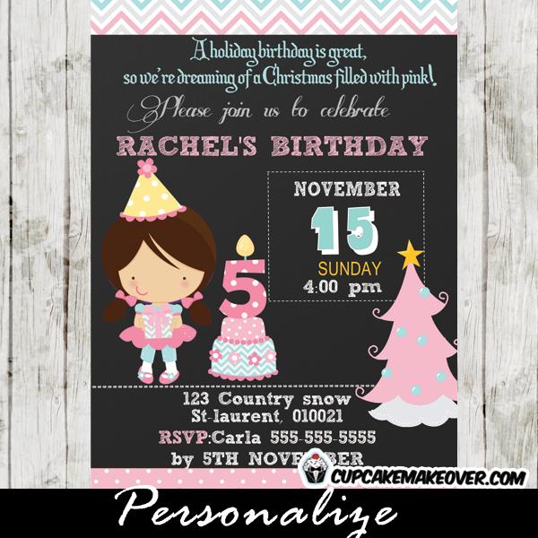 chalkboard pink christmas birthday invitation for girls