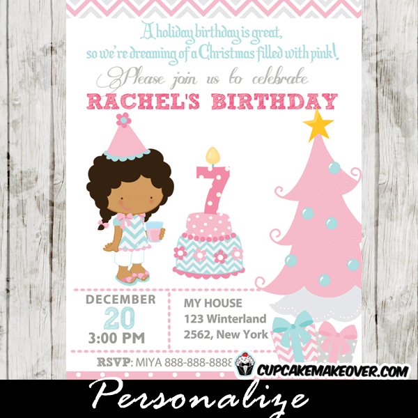 winter wonderland pink birthday girl invitation