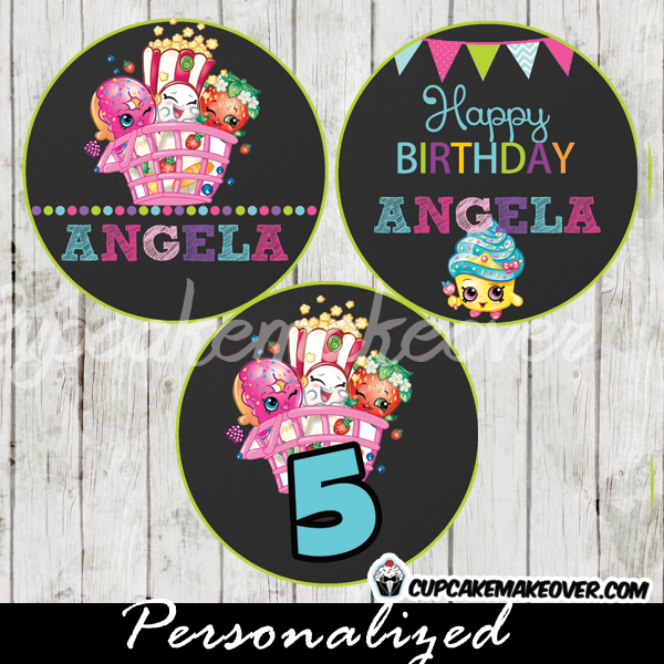 personalized shopkins favor tags cake toppers