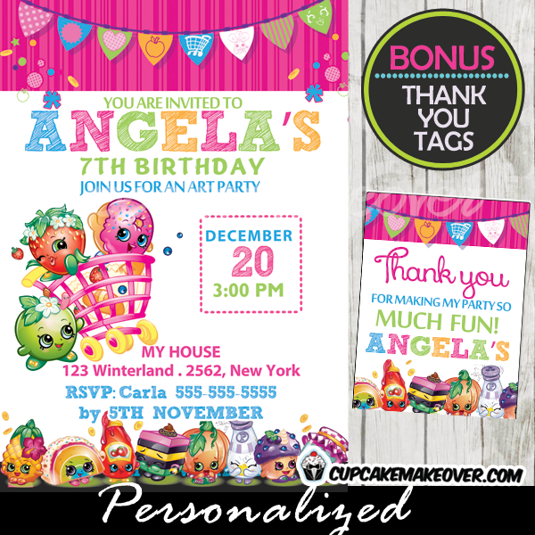 Shopkins birthday party invitation personalized d3 cupcakemakeover printable shopkins party invitations and favor tags filmwisefo