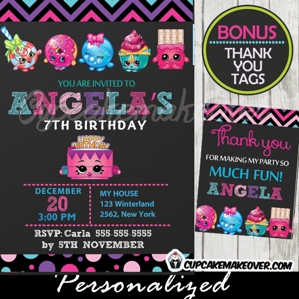 shopkins birthday party invitation, personalized – d3, Party invitations