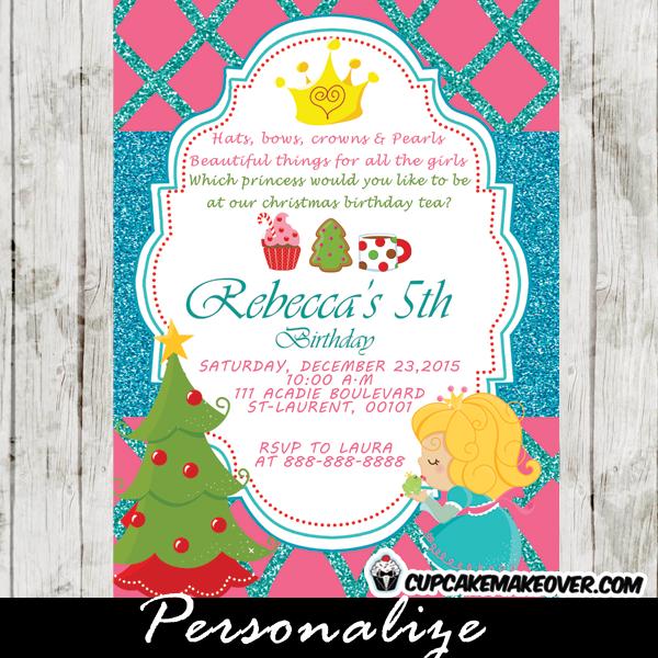 printable christmas birthday invitation princess tea party card