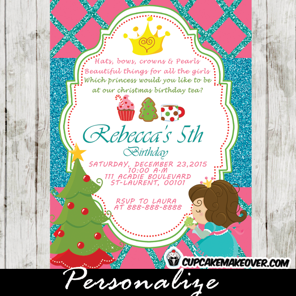 personalized christmas birthday invitation princess tea party